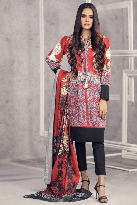 Alkaram Studio Infinite Collection 2 Piece Embroidered Suit with Lawn Dupatta MS-18-19-Red