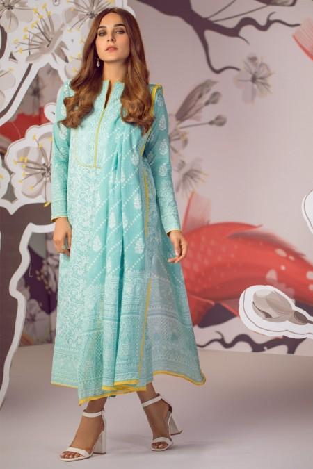 Alkaram Studio Infinite Collection 2 Piece Printed Suit with Cotton Net Dupatta MS-16.1-19-Turqouise
