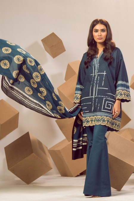 Alkaram Studio Infinite Collection 2 Piece Printed Suit with Lawn Dupatta MS-16-19-Blue