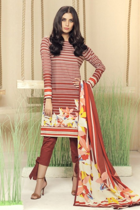 Alkaram Studio Infinite Collection 2 Piece Printed Suit with Lawn Dupatta MS-17-19-Brown