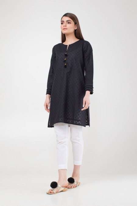 Khaadi Pret Collection Basic Brosha Kurta ETBB19433-Black
