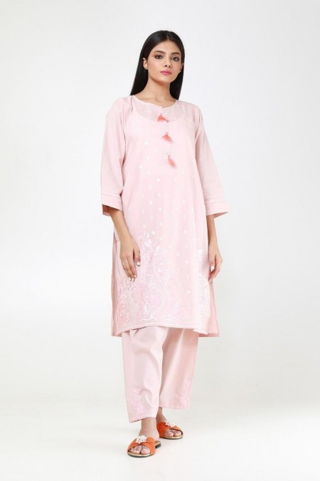Khaadi Pret Collection Embroidered Kurta with Pants KPE194111-Pink