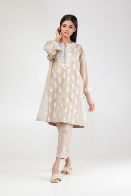 Khaadi Pret Collection Embroidered Kurta with Pants KPE194112-Beige