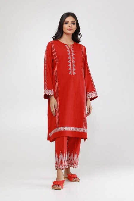 Khaadi Pret Collection Two-Piece Embroidered Suit ETEJ19441-Red
