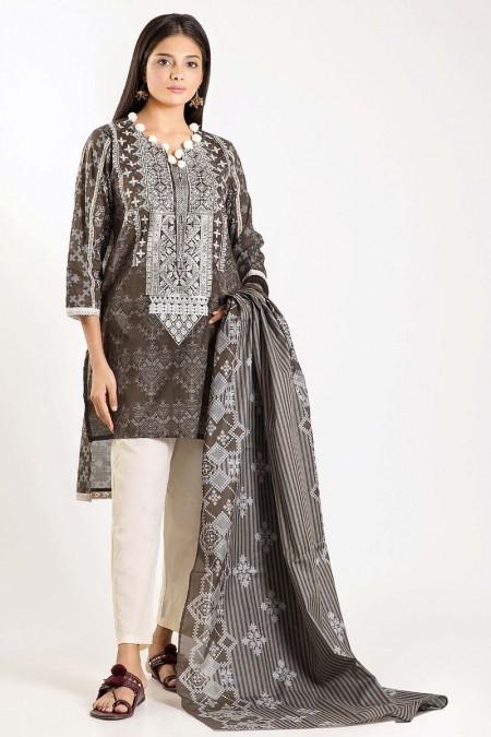 Khaadi Shirt Dupatta M19412-Black-2Pc