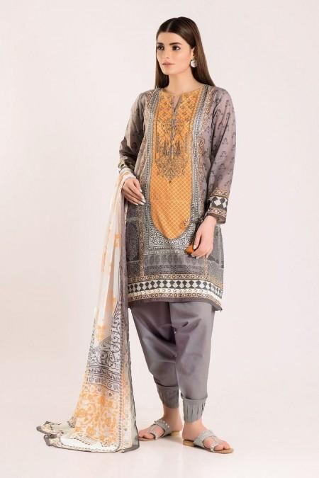 Khaadi Shirt Shalwar Dupatta R19414-Grey-3Pc