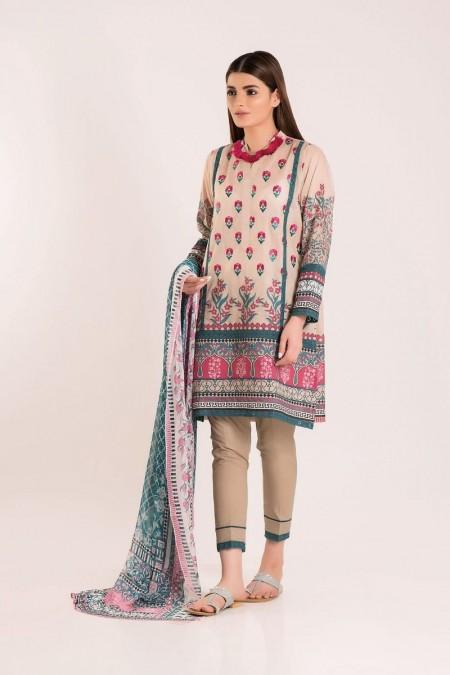 Khaadi Shirt Shalwar Dupatta R19417-Beige-3Pc