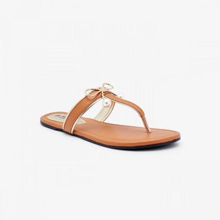 NDURE Fancy Toe Post Slides ND-FH-0035-Tan