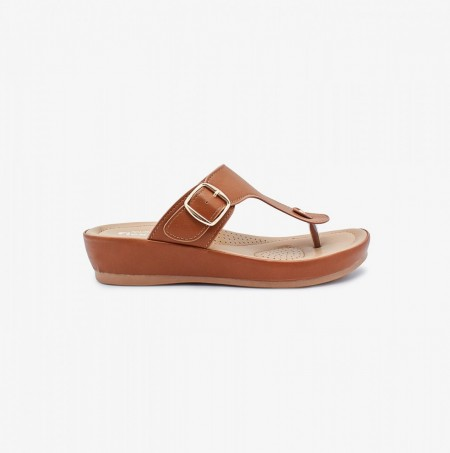 NDURE Toe Post Memory Foam Chappal ND-CF-0004-TAN
