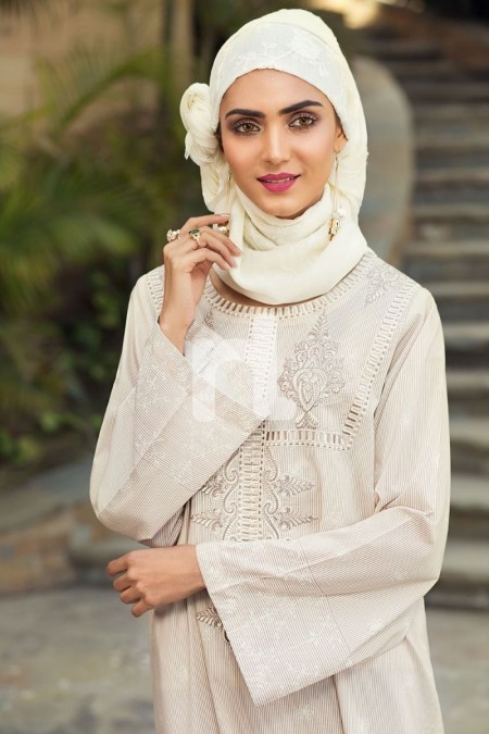 Nishat Linen DE19-26 Off White Digital Printed Stitched Cambric Jalabiya - 1PC