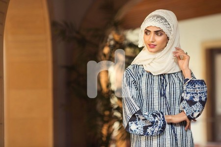 Nishat Linen DS19-62 Navy Digital Printed Stitched Lawn Jalabiya 1PC