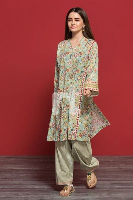 Nishat Linen PPE19-05 Blue Printed Stitched Lawn Shirt & Printed Shalwar - 2PC