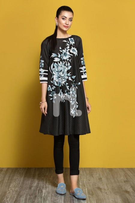 Nishat Linen PPE19-07 Black Digital Printed Stitched Lawn Frock - 1PC