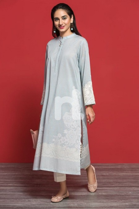 Nishat Linen PPE19-10 Grey Digital Printed Embroidered Stitched Lawn Shirt - 1PC
