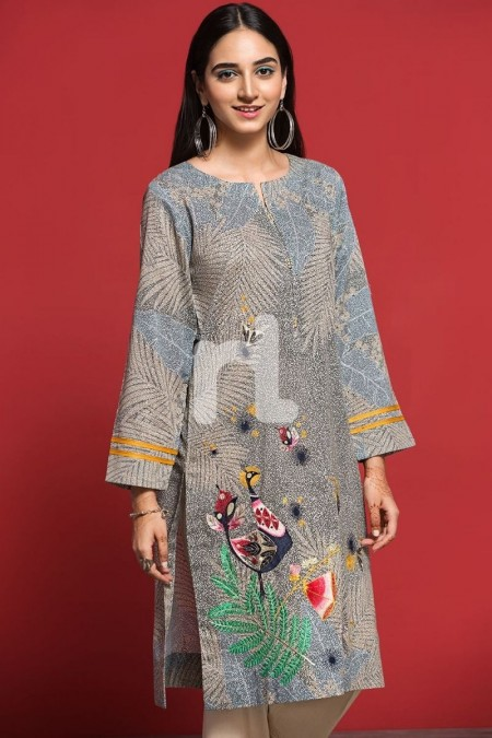 Nishat Linen PPE19-16 Beige Digital Printed Embroidered Stitched Lawn Shirt - 1PC