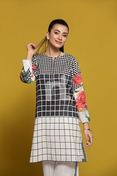 Nishat Linen PPE19-17 Black Digital Printed Stitched Lawn Shirt - 1PC