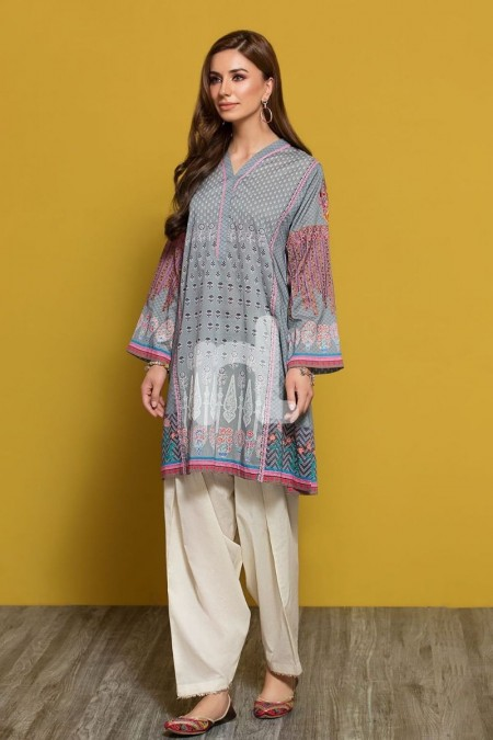 Nishat Linen PPE19-27 Grey Digital Printed Embroidered Stitched Lawn Shirt - 1PC