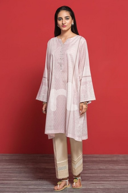 Nishat Linen PPE19-29 Pink Digital Printed Embroidered Stitched Lawn Shirt - 1PC