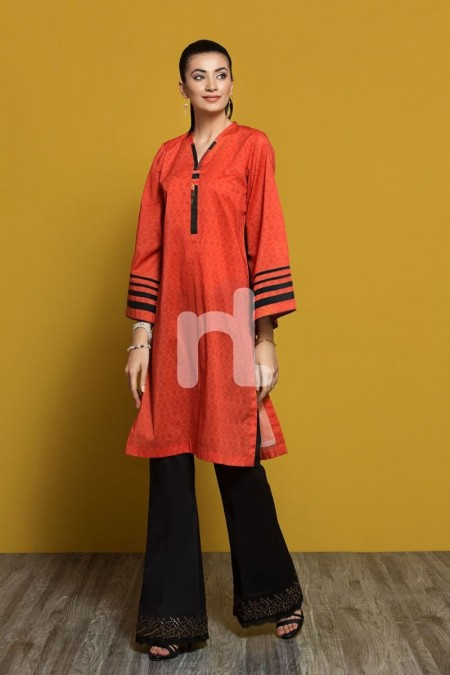 Nishat Linen PPE19-32 Orange Digital Printed Stitched Lawn Shirt - 1PC