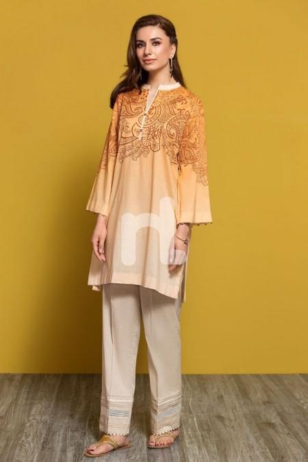 Nishat Linen PPE19-33 Orange Digital Printed Stitched Lawn Shirt - 1PC