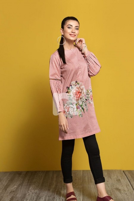 Nishat Linen PPE19-35 Peach Digital Printed Stitched Lawn Shirt - 1PC