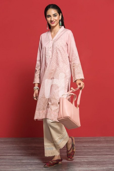 Nishat Linen PPE19-38 Pink Digital Printed Stitched Lawn Shirt - 1PC
