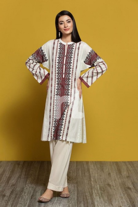 Nishat Linen PPE19-39 Off White Digital Printed Stitched Lawn Shirt - 1PC