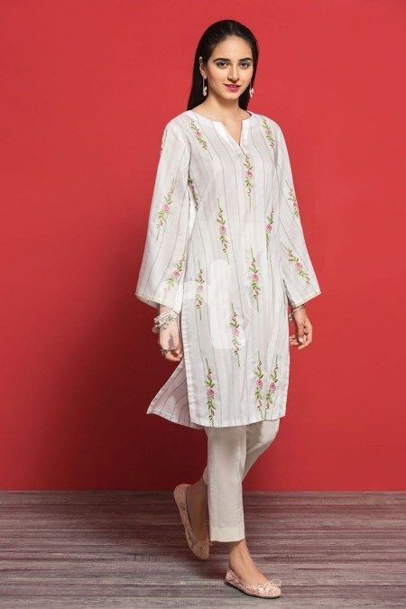 Nishat Linen PPE19-46 Off White Printed Embroidered Stitched Lawn Shirt - 1PC