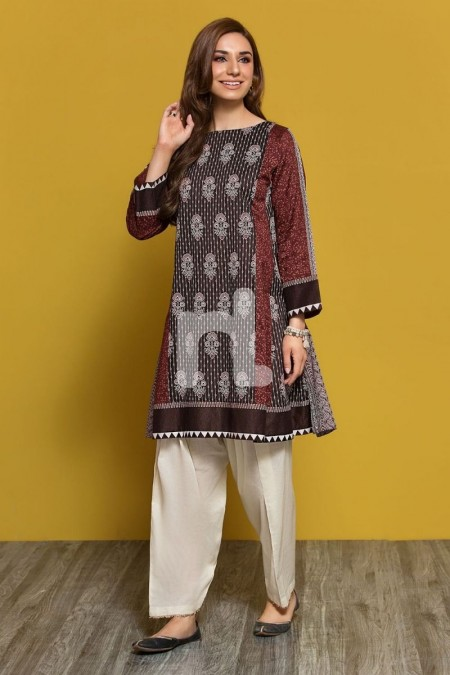 Nishat Linen PPE19-47 Brown Printed Stitched Lawn Frock - 1PC