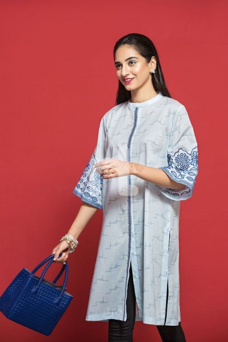 Nishat Linen PPE19-50 Blue Printed Embroidered Stitched Lawn Shirt - 1PC