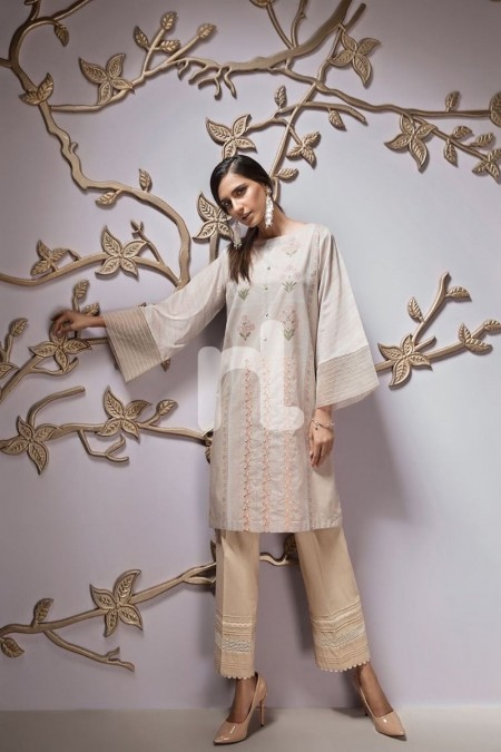 Nishat Linen PPE19-53 Peach Digital Printed Embroidered Stitched Lawn Shirt - 1PC