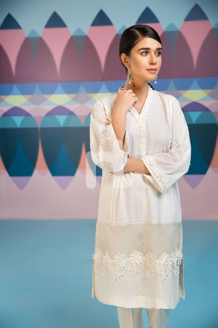 Nishat Linen PS19-101 White Dyed Embellished Stitched Slub Lawn Shirt - 1PC