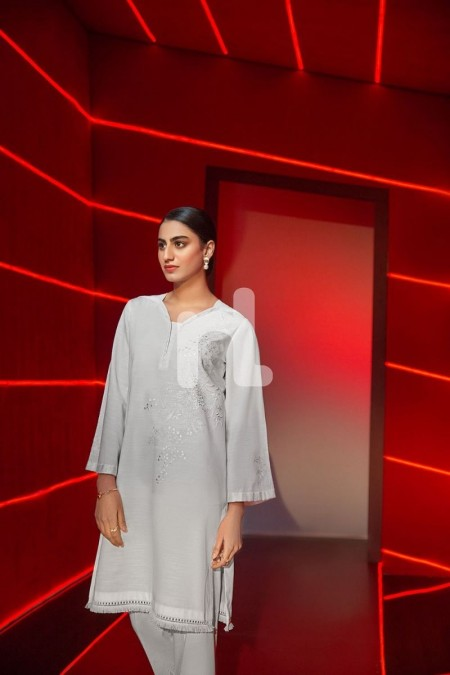 Nishat Linen PS19-160 Off White Dyed Embroidered Stitched Slub Lawn Shirt - 1PC