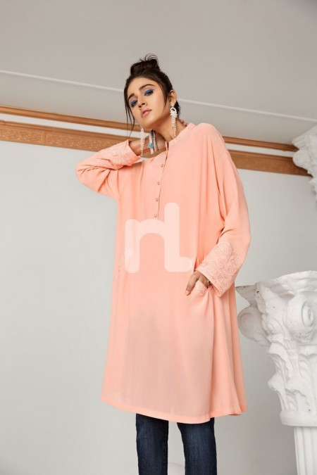 Nishat Linen PS19-39 Peach Dyed Embroidered Stitched Georgette Shirt - 1PC