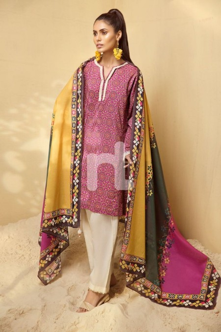 Nishat Linen PS19-68 Pink Printed Embroidered Stitched Lawn Shirt & Printed Dupatta - 2PC