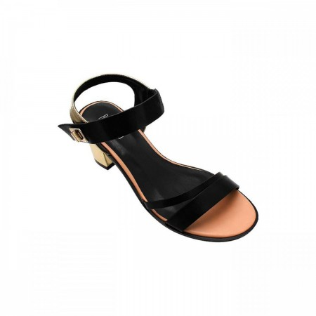 Reeva Chrome Heel Ladies Sandal RV-SD-0357-Black