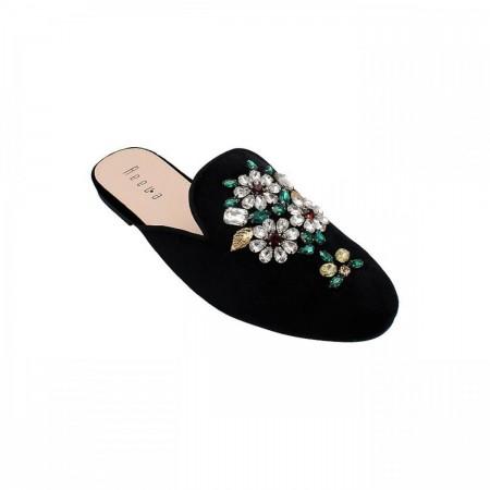 Reeva Decorative Floral Mule RV-CH-0273-Black