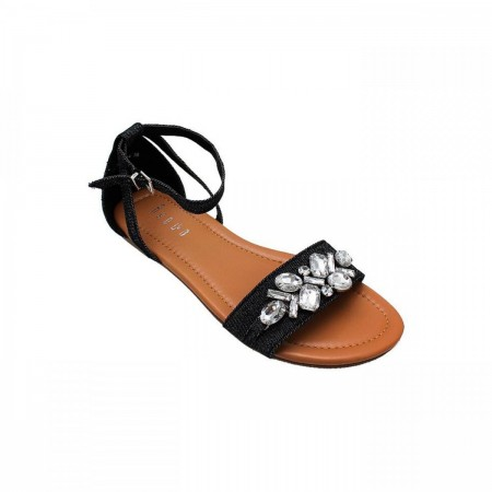 Reeva Denim Flat Sandals RV-SD-0414-Black