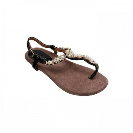 Reeva Fancy Pearled Toe Post Sandal RV-SD-0416-Black