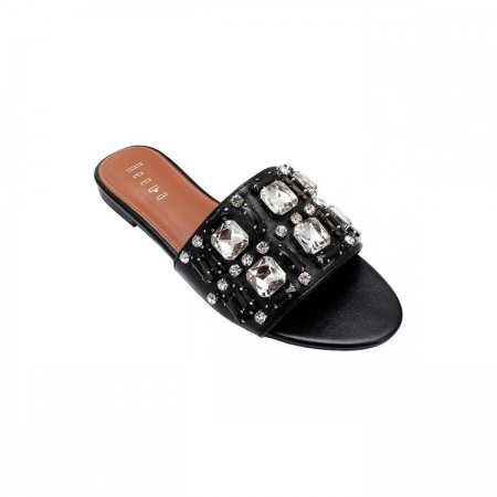 Reeva Faux Crystal Chappal RV-CH-0275-Black