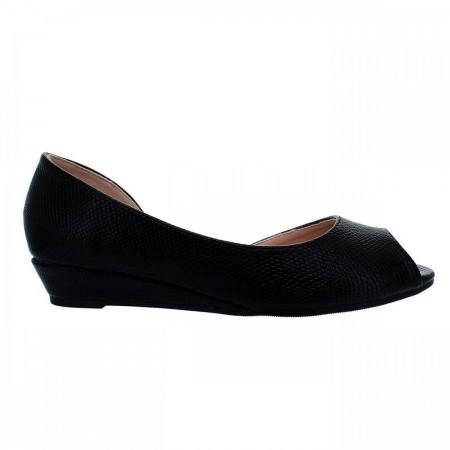 Reeva Peep Toe Wedge Shoes RV-SM-0354-Black
