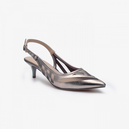 Reeva Pointed Toe Kitten Heel Sandals RV-SD-0442-Pewter