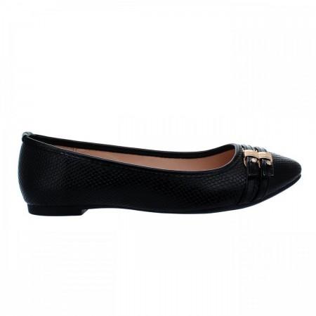 Reeva Round Toe Ballerina Flat Shoes RV-SM-0339-Black
