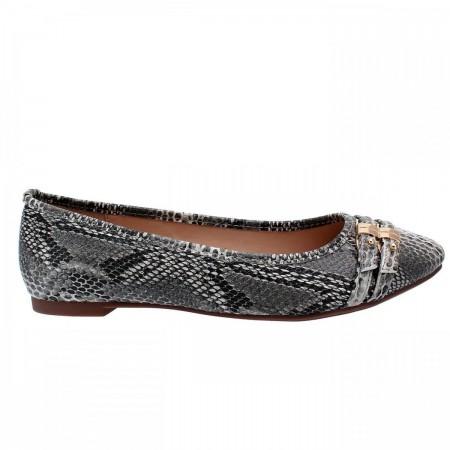 Reeva Round Toe Ballerina Flat Shoes RV-SM-0339-Grey