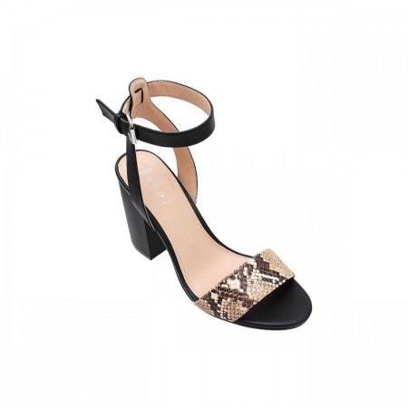 Reeva Textured Block Heels RV-SD-0424-Black
