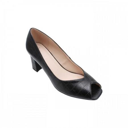 Reeva Textured Peep Toe Heels RV-SM-0391-Black