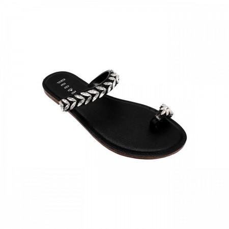 Reeva Toe Ring Ladies Chappal RV-CH-0264-Black