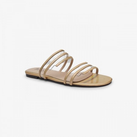 Reeva Translucent Double Strap Slide RV-CH-0296-GOLD