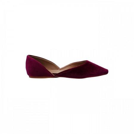 Reeva Velvet Ballerina Flat Shoes RV-SM-0345-Burgundy