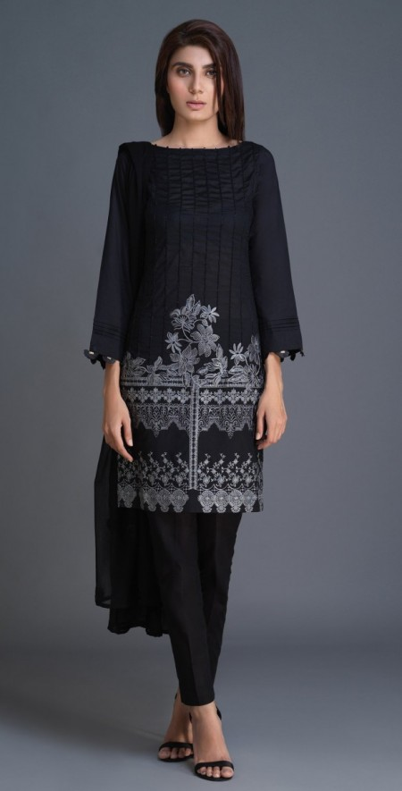 Salitex Lawn Shirt with Embroidered Front , Embroidered Chiffon Dupatta & Cambric Trouser 3pc (BW-01)